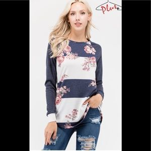 Tops - Plus Size Floral Color Block Top